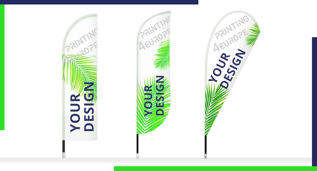 Drapeau oriflamme - Votre drapeau publicitaire en différentes formes Drop, Straight or Bend